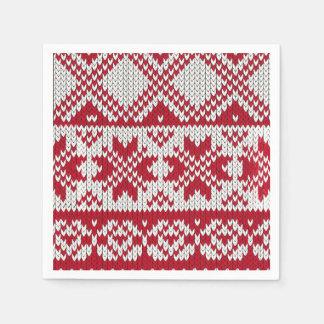 Modelo hecho punto de Navidad en rojo y blanco Servilletas De Papel