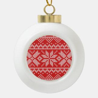 Modelo hecho punto del navidad rojo y blanco adorno de cerámica en forma de bola