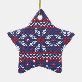 Modelo hecho punto extracto azul del navidad y adorno navideño de cerámica en forma de estrella
