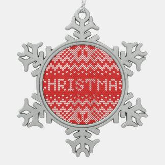 Modelo hecho punto extracto del navidad blanco adorno de peltre en forma de copo de nieve