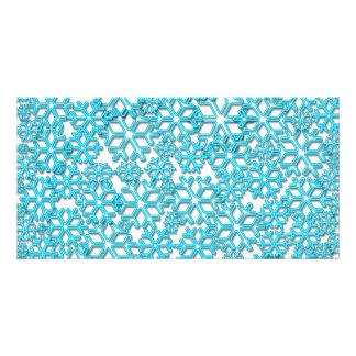 Modelo helado de los copos de nieve tarjeta fotográfica