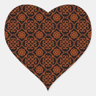 Modelo hermoso del Azteca del vintage Pegatina En Forma De Corazón
