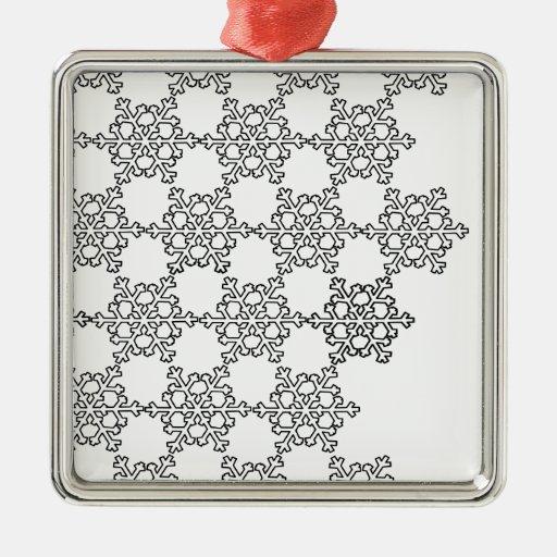 Modelo hermoso del copo de nieve adorno navideño cuadrado de metal
