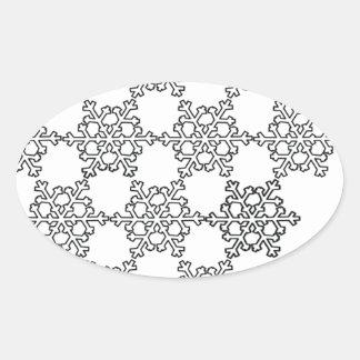 Modelo hermoso del copo de nieve calcomanías ovaladas