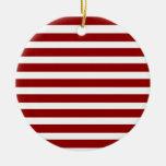 Modelo horizontal rojo y blanco de las rayas adorno navideño redondo de cerámica