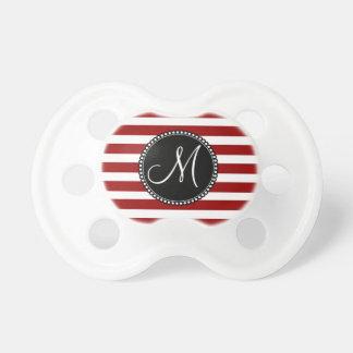 Modelo horizontal rojo y blanco de las rayas chupete de bebé