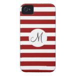 Modelo horizontal rojo y blanco de las rayas iPhone 4 Case-Mate cobertura