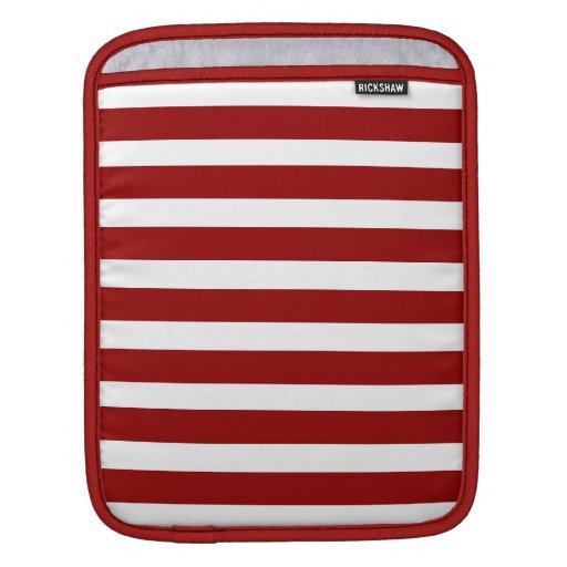 Modelo horizontal rojo y blanco de las rayas manga de iPad