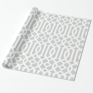 Modelo imperial gris claro y blanco del enrejado papel de regalo