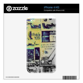 Modelo impresionante del collage del golf del vint iPhone 4S skins