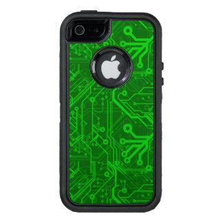Modelo impreso verde de la placa de circuito funda otterbox para iPhone 5/5s/SE