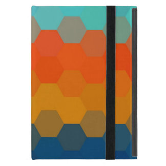 Modelo inconsútil anaranjado y azul de Chevron iPad Mini Carcasa