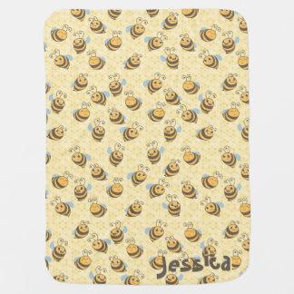 Modelo inconsútil de la abeja de la miel manta de bebé