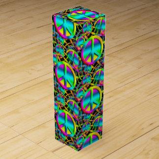 Modelo inconsútil de la PAZ colorida + sus ideas Caja Para Botella De Vino