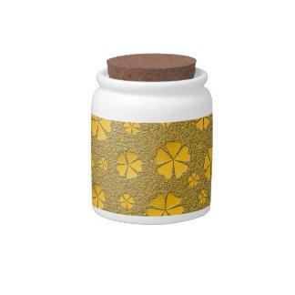 Modelo inconsútil de las flores de oro jarras para caramelos