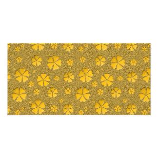 Modelo inconsútil de las flores de oro tarjetas personales