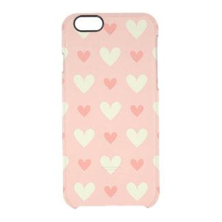 Modelo inconsútil de los corazones lindos dulces funda clearly™ deflector para iPhone 6 de uncommon