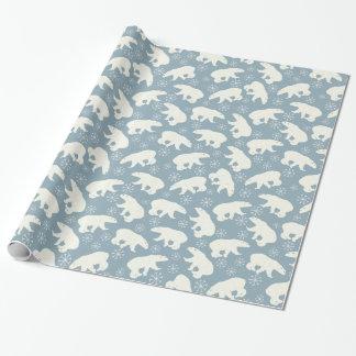 Modelo inconsútil de los osos polares del invierno papel de regalo
