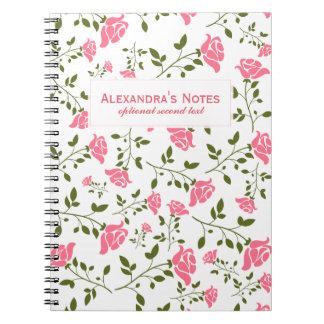Modelo inconsútil de los rosas rosados cuaderno
