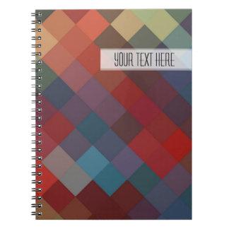 Modelo inconsútil del diamante colorido spiral notebook