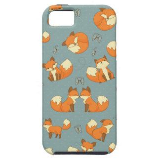 Modelo inconsútil del Fox y de mariposa iPhone 5 Cárcasa