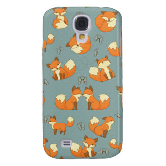 Modelo inconsútil del Fox y de mariposa Funda Para Galaxy S4