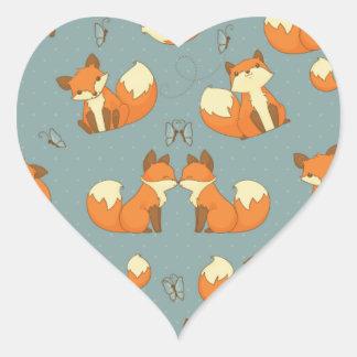 Modelo inconsútil del Fox y de mariposa Calcomanías Corazones