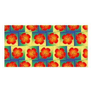 Modelo inconsútil del hibisco colorido tarjeta con foto personalizada