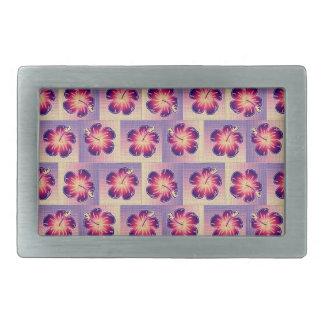 Modelo inconsútil del hibisco púrpura hebillas cinturón rectangulares