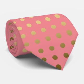 Modelo inconsútil del oro y del lunar rosado corbatas