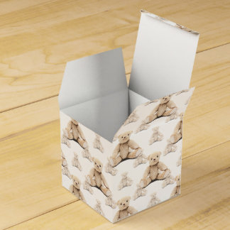 Modelo inconsútil del oso de peluche cajas para detalles de boda