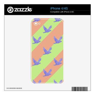 Modelo inconsútil del pájaro y de las rayas iPhone 4 skin