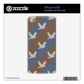 Modelo inconsútil del pájaro y de las rayas iPhone 4S calcomanías