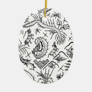 Modelo indonesio de la materia textil de los adorno navideño ovalado de cerámica