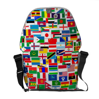 Modelo internacional de las banderas bolsa de mensajeria