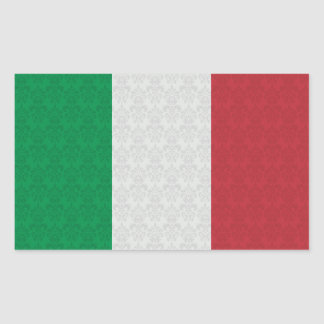 Modelo italiano del damasco de la bandera pegatina rectangular