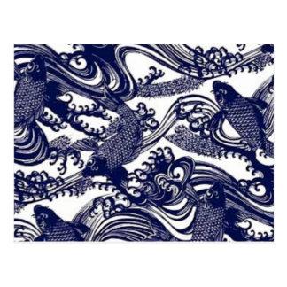 Modelo japonés azul de los pescados de Koi del tat Tarjetas Postales