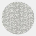 Modelo japonés de plata de la escala de pescados etiquetas redondas