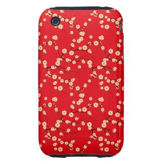Modelo japonés rojo y blanco de las flores de cere tough iPhone 3 coberturas