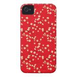 Modelo japonés rojo y blanco de las flores de cere iPhone 4 protectores