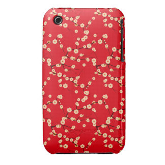 Modelo japonés rojo y blanco de las flores de cere iPhone 3 cárcasas