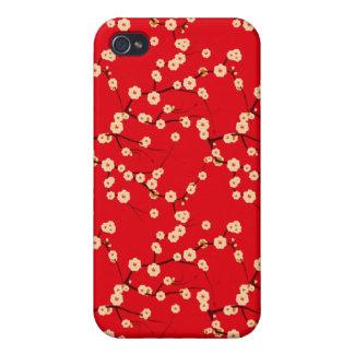 Modelo japonés rojo y blanco de las flores de cere iPhone 4 funda