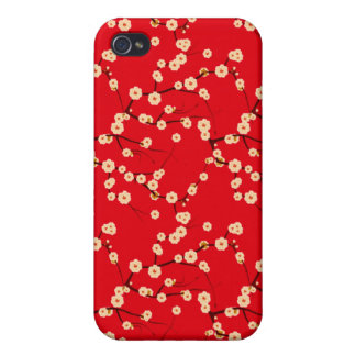Modelo japonés rojo y blanco de las flores de cere iPhone 4 fundas