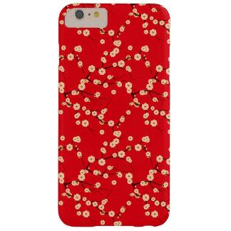 Modelo japonés rojo y blanco de las flores de funda barely there iPhone 6 plus