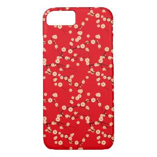 Modelo japonés rojo y blanco de las flores de funda iPhone 7