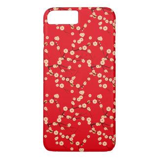 Modelo japonés rojo y blanco de las flores de funda iPhone 7 plus
