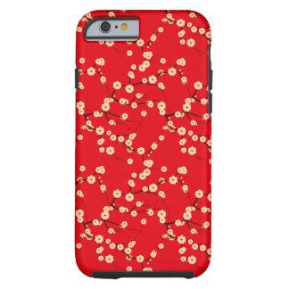 Modelo japonés rojo y blanco de las flores de funda para iPhone 6 tough