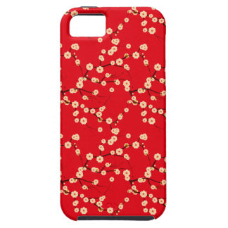 Modelo japonés rojo y blanco de las flores de funda para iPhone SE/5/5s