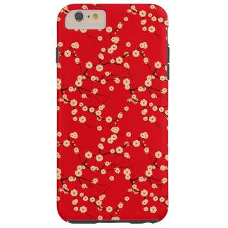 Modelo japonés rojo y blanco de las flores de funda resistente iPhone 6 plus