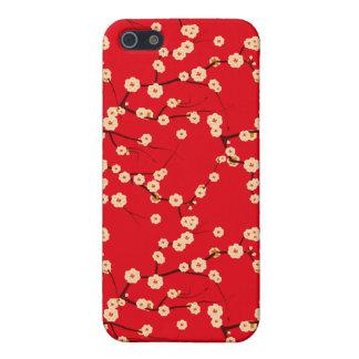 Modelo japonés rojo y blanco de las flores de iPhone 5 carcasas